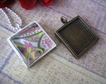 20pc... 16mm square bezel pendant trays...Mix and Match...Silver and Antique Brass