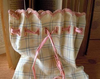Vintage 1930s Linen Corset Storage Bag Lingerie Bag