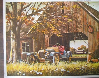Vintage Print of a Country Barn and old Car. FREE U.S. SHIPPING