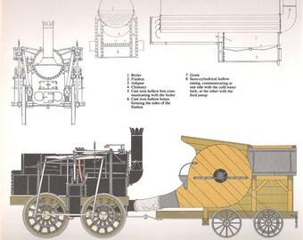Old Double sided Train Print