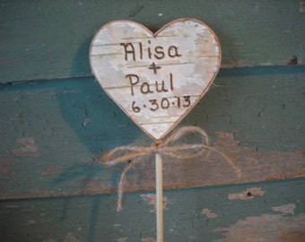 Birch bark heart cake topper, personalized with your names and wedding date.