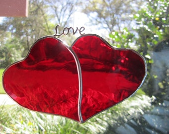 Red Double Hearts Suncatcher