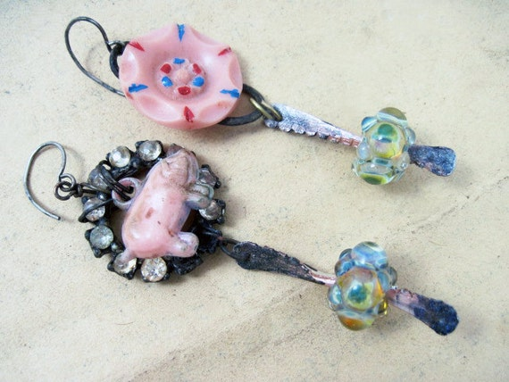 Dirty Pink. Rustic assemblage earrings with vintage antique found objects and lampwork art beads.