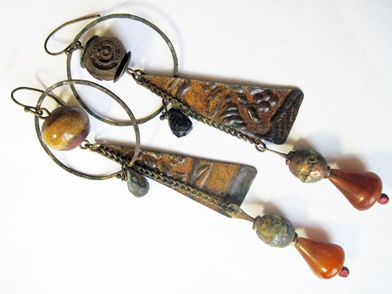 Time the River. Rustic Gypsy dark, victorian tribal assemblage earrings