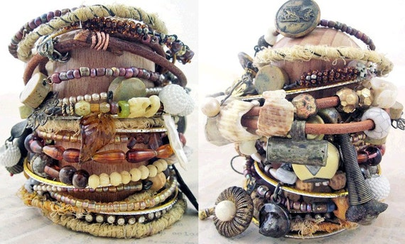 The Lining of the World. Rustic Tribal Gypsy Assemblage Bangle Stack in Grey/Amber/Beige.