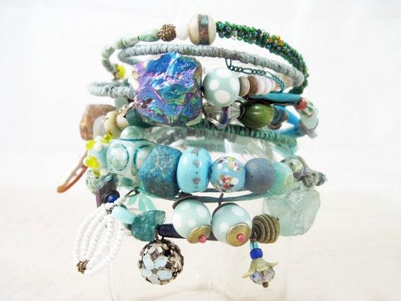 Liquid Light 2. Blue Green Rustic Gypsy Bangle Stack, bracelet set.