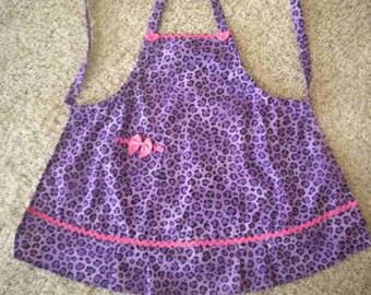 Girls Purple Leopard Print Apron. Size 4-5-6