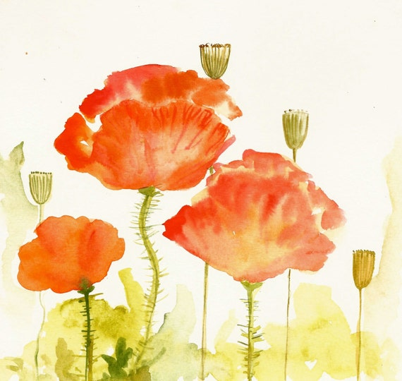 Red Poppies Original Watercolor / Original Art direct from the Artist / Flowers