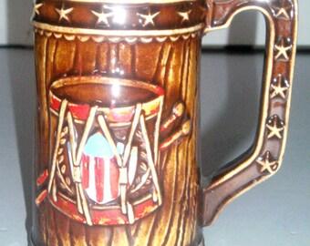 Vintage Ceramic Stein - Revolutionary War Drum and Bugle Design Stein - Beer Stein - Bi Centennial Revelotionary War Stein - Drinking Stein