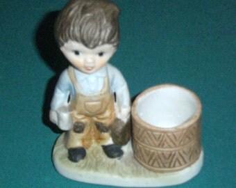 Vintage Boy Toothpick Holder - Boy Figurine - Toothpick Holder - Match Holder - Table Top Toothpick Holder - Mantle Match Stick Holder