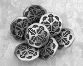 Etched Metal Buttons, 15mm 5/8 inch - Antiqued Silver Tone Southwest Compass Star Buttons - 7 NOS Octagonal Silver Metal Shank Buttons MT43