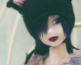 Jiajiadoll- hand knitting-black cat helmet hat fits Momoko And Misaki