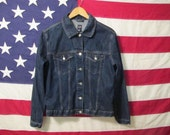Womens Vintage Gap Denim Jean Jacket Dark Blue 90s Size Large