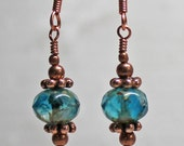 Capri Blue and Copper Earrings - Beautiful Clear Blue Czech Glass Rondelles with Picasso Finish - Copper Round and Daisy Beads