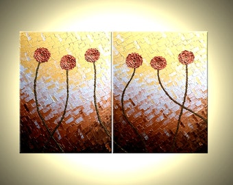 Impasto Flowers, Original Red Metallic Roses POPPIES Red Flowers Painting, Abstract Copper Art, Textured Art By Lafferty - 44x28