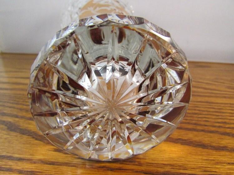Vintage Julia Polish Lead Cut Crystal Vase By