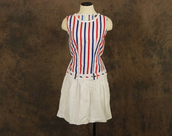 CLEARANCE Sale vintage 60s Nautical Dress - Dropwaist Shift Dress - 1960s Red White and Blue Stripe Dress Sz XS