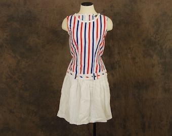 vintage 60s Nautical Dress - Dropwaist Shift Dress - 1960s Red White and Blue Stripe Dress Sz XS