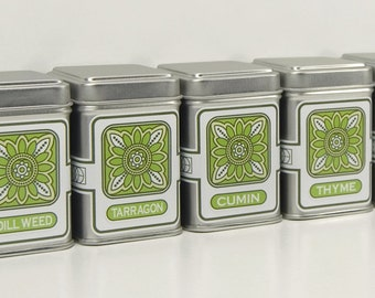 Customize Green Flower Spice Tins With 24 Spice names - set of 6