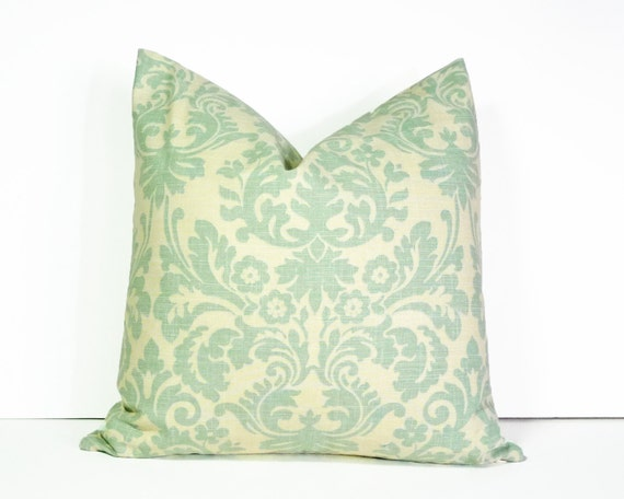 Sea Green Damask Pillow Linen Pillow Cover Decorative Throw