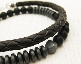 Metallic Unisex Bracelet / Hematite Onyx Oxidized Sterling Silver Bracelet / Urban Hipster Bracelet / black night dude man guy bracelet /