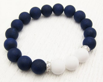 Nautical Jade Bead Bracelet with Sterling Silver and Rhinestone / Navy White Stacking Bracelet /sea ship ocean sail inspired / color block
