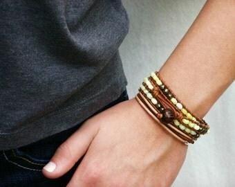 Yellow Gold Leather Wrap Bracelet / Lemon Sunshine Jade Golden Pyrite Bohemian Eco Friendly Triple Wrap Bracelet / Bright Golden Sun Color