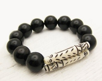 Tribal Bone Black Obsidian Statement Bracelet / Carved Ivory Bone Brown Flash Gemstones / Bohemian Stacking Bracelet / Earthy Natural Stone