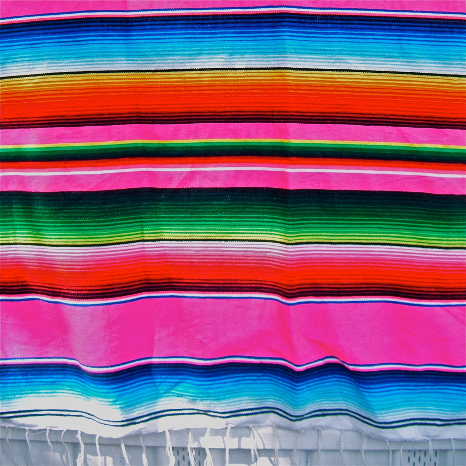 Vintage Mexican Woven Serape Blanket Hot Pink 46 by 82