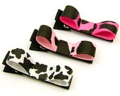 Holstein Cow Hair Clips for Girls, No Slip Alligator Clips, Cow Print Bows, Cow Tuxedo Bows Toddlers, Girls, Women
