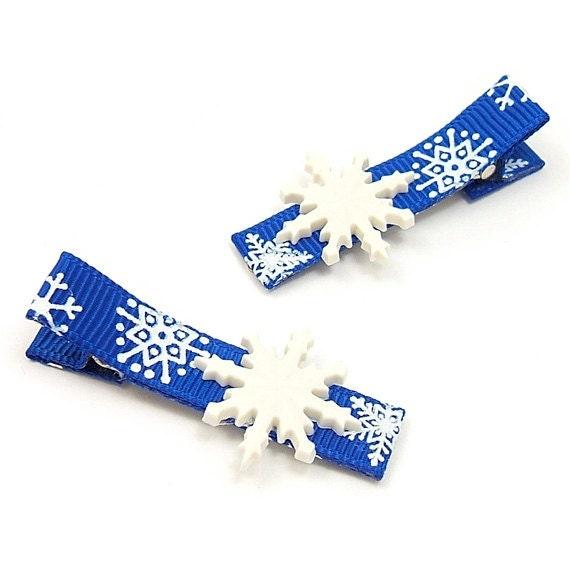 Blue Snowflake Hair Clips, One Pair, White Snowflake Clips, Royal Blue, Snowflake Clippies, Snow Queen Hair Clips
