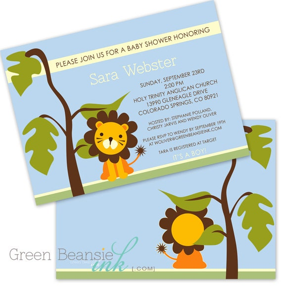 JUNGLE LION Baby Shower Printable Party Invitation Printing Available