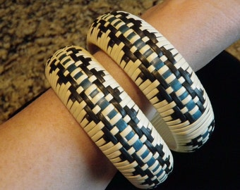 Vintage Pair Handwoven Leather Bangles