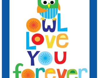 Kids Wall Art- Owl love you forever print
