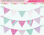 Blue Pink Purple Bunting Clipart Graphics Instant Download Commercial Use Clip Art Polka Dots Chevron Stripes