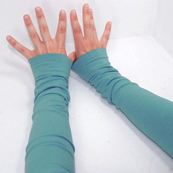 Arm Warmers in Aquamarine Dream - Long Fingerless Cuffs