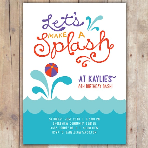 splash custom digital birthday pool party invitation invite. Black Bedroom Furniture Sets. Home Design Ideas