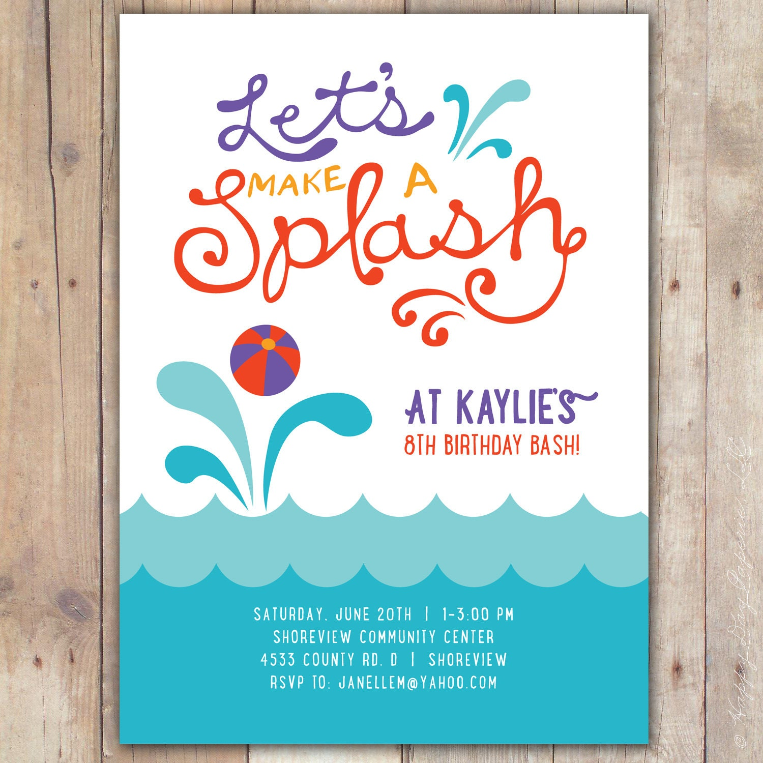 Splash Custom DIGITAL Birthday Pool Party Invitation Invite