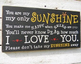 You are my sunshine typography word art wood sign|Children's song|kid's room wall art|gift for loved one