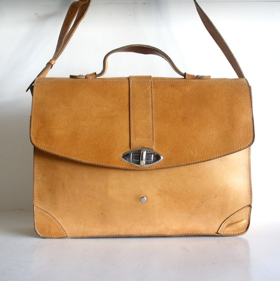 Vintage Tan Leather Briefcase Bag By Pascalvintage On Etsy