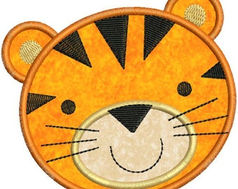Zoo Baby Tiger Face Applique Machine Embroidery Designs 4x4 & 5x7 Instant Download Sale