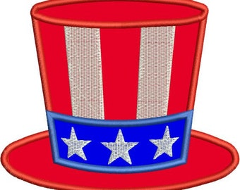 Applique Hat Fourth 4th of July Stars Stripes Machine Embroidery Design 4x4 and 5x7 Instant Download