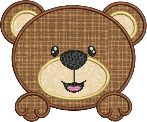 Cute Baby Bear Face Applique Machine Embroidery Designs 4x4
