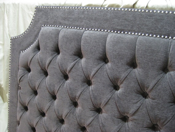 Gray Tufted Upholstered Headboard With Nickel Nailheads