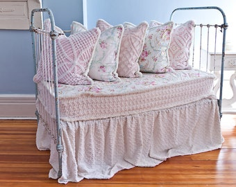 custom order antique wrought iron crib settee daybed shabby chic chenille bedspread roses white iron cottage