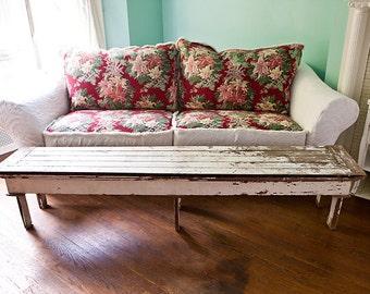 shabby chic sofa couch slipcover barkcloth matelasse bedspread vintage cottage prairie custom order