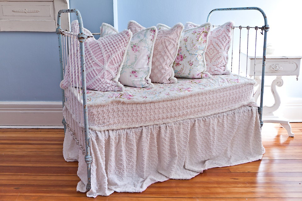 Antique Wrought Iron Crib Settee Daybed By