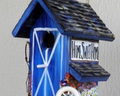 Blue Barn Bird House , Environmentally Friendly , Navy Blue with White Trim , Made in Oregon, USA