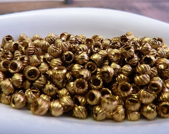 Metal Bead Vintage French Brass Bead French Torse Beads 3x2mm (50) K23