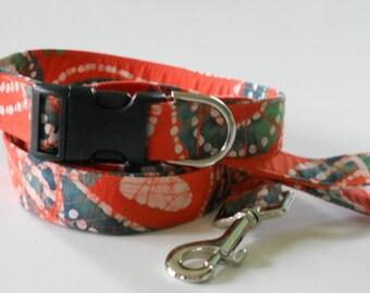 Orange and Green Batik Fabric Collar and Leash Matching Set